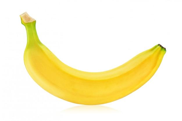 Gele banaan die op wit wordt geïsoleerd