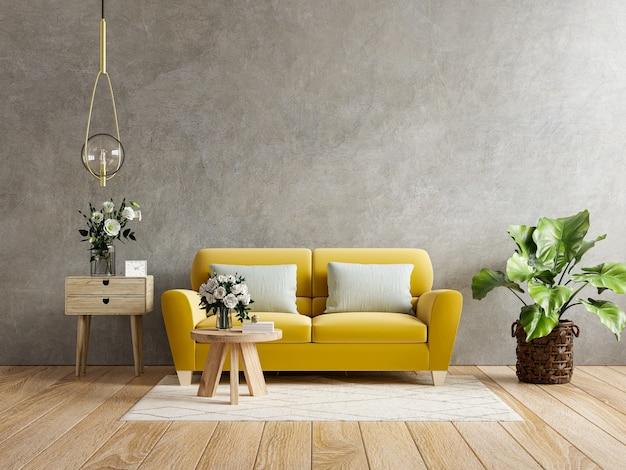 Gele bank en een houten tafel in het interieur van de woonkamer met plant, betonnen muur. 3d-rendering