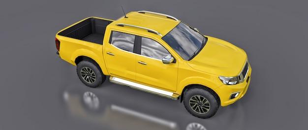 Gele bestelwagen voor bedrijfsvoertuigen met een dubbele cabine. machine zonder insignes met een schone lege behuizing voor uw logo's en labels. 3d-rendering.