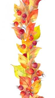 Gele bladeren, bessen. naadloze herfst grens. aquarel streep