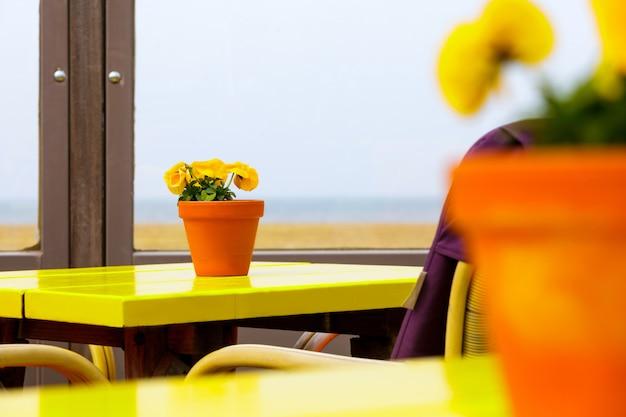 Gele bloemen in oranje vazen op gele tafels
