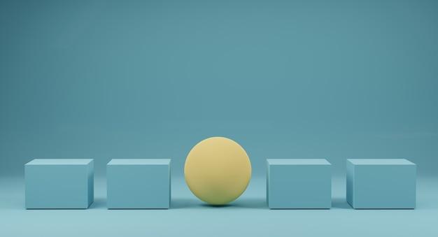Gele bollen uitstaan onder blauwe doos op blauw