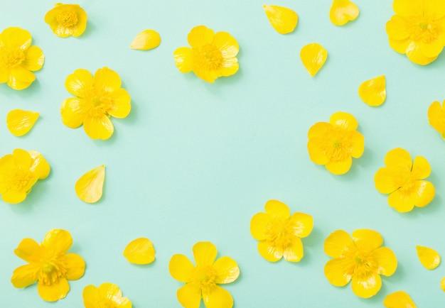 Gele boterbloemen op groenboekachtergrond