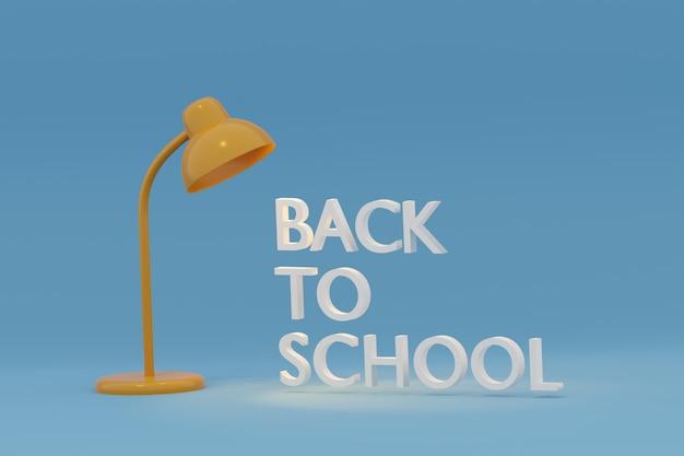 Gele bureaulamp met terug naar schooltekst op blauwe achtergrond, 3d illustratie.