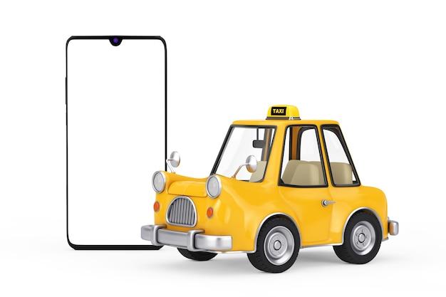 Gele cartoon taxi auto in de buurt van moderne mobiele telefoon met leeg scherm voor uw ontwerp op een witte achtergrond. 3d-rendering
