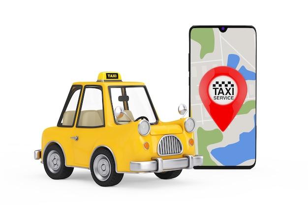 Gele cartoon taxi-auto in de buurt van moderne mobiele telefoon met taxi service-toepassing op een witte achtergrond. 3d-rendering