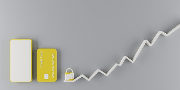Gele celtelefoon en creditcard naast een hangslot met oplopende afbeelding. 3d render