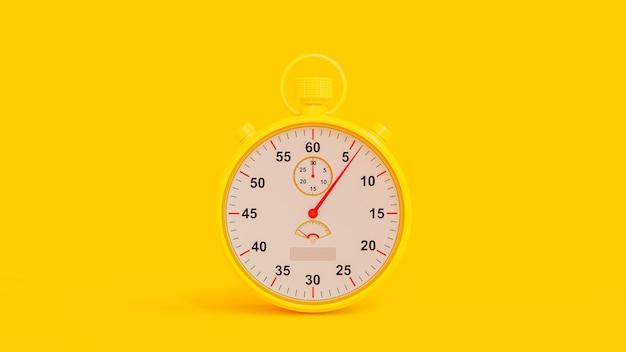 Gele chronometer op gele achtergrond. uitknippad en kopieer ruimte voor uw tekst.