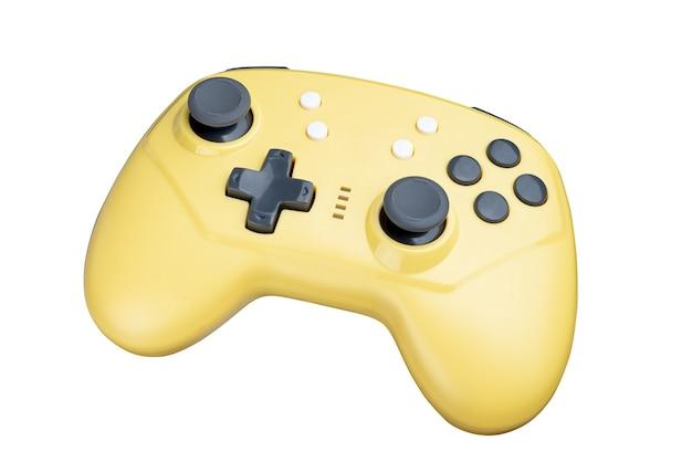 Gele controller voor een videogame geïsoleerd op een witte achtergrond. volledige scherptediepte.