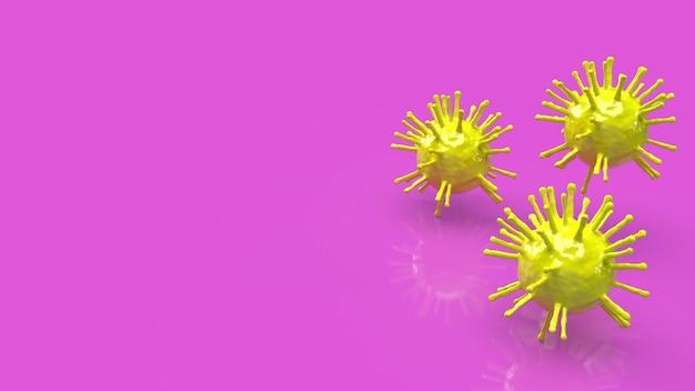 Gele coronaviruscellen met kopie ruimte, 3d-rendering