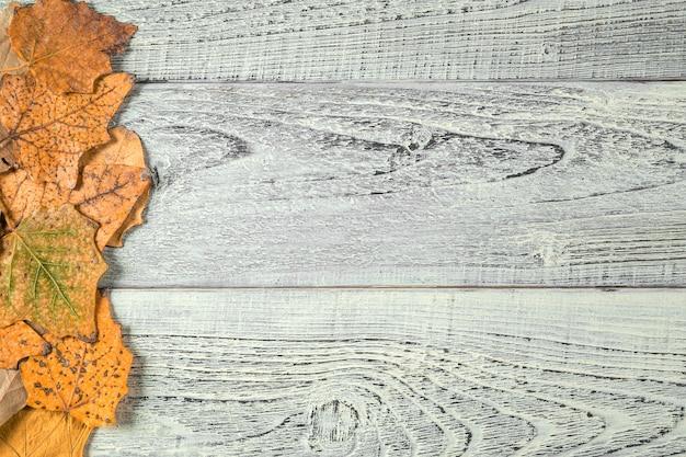 Gele de herfstbladeren op een lichte oude houten achtergrond