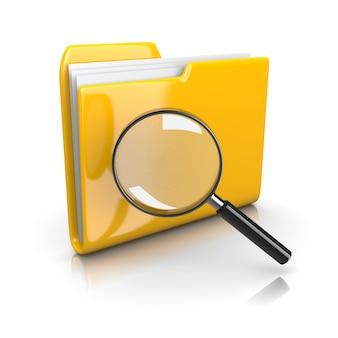 Gele documentenmap met vergrootglas
