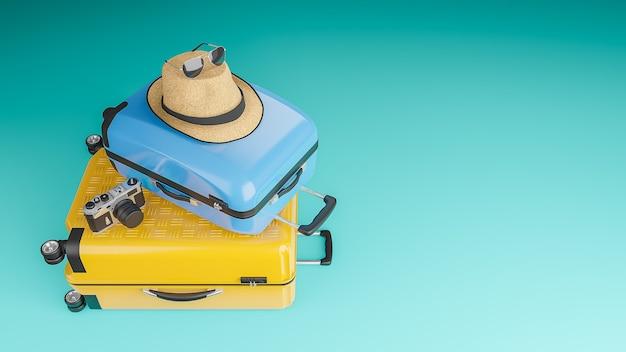 Gele en blauwe koffer met zonnehoed en bril, camera, reisconcept, 3d illustratie.