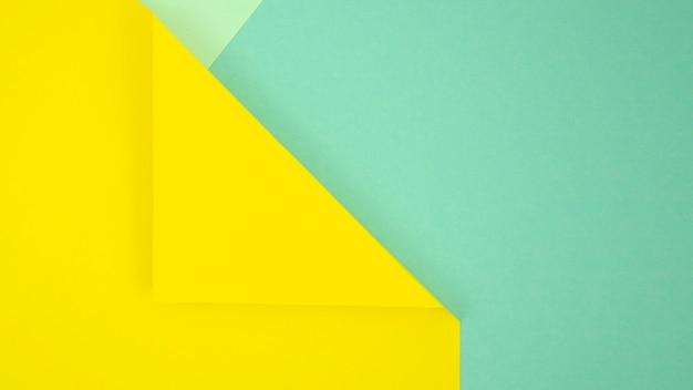 Gele en blauwe minimale geometrische vormen en lijnen