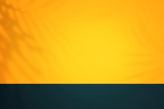 Gele en blauwe tropische productachtergrondmuur met schaduw