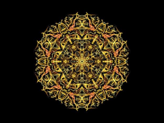 Gele en oranje abstracte vlammandalabloem, sier bloemen rond patroon op zwarte achtergrond