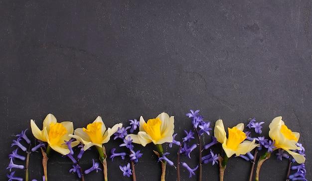 Gele en paarse bloemen op een zwarte achtergrond. kopie ruimte, plat leggen
