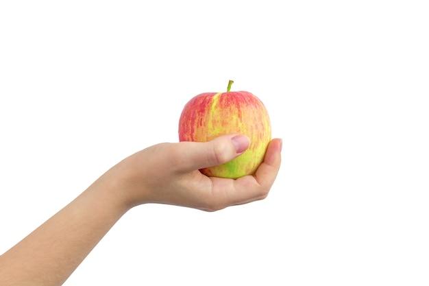 Gele en rode appel in de hand geïsoleerd op een witte achtergrond photo
