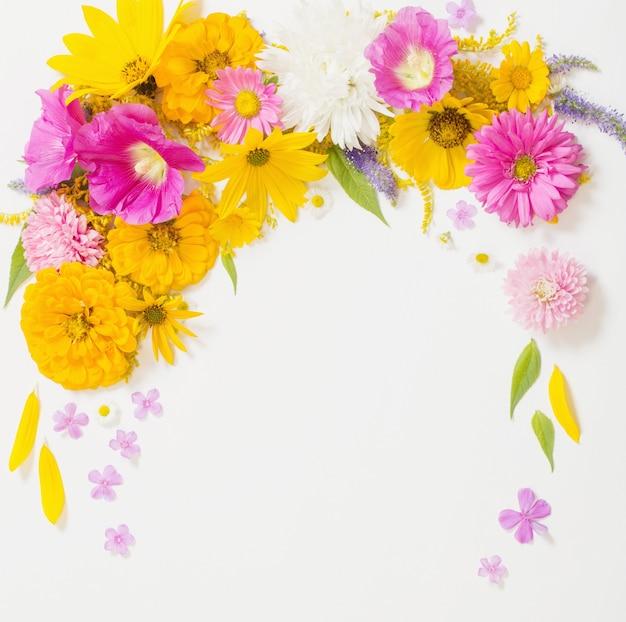 Gele en roze bloemen op witte achtergrond