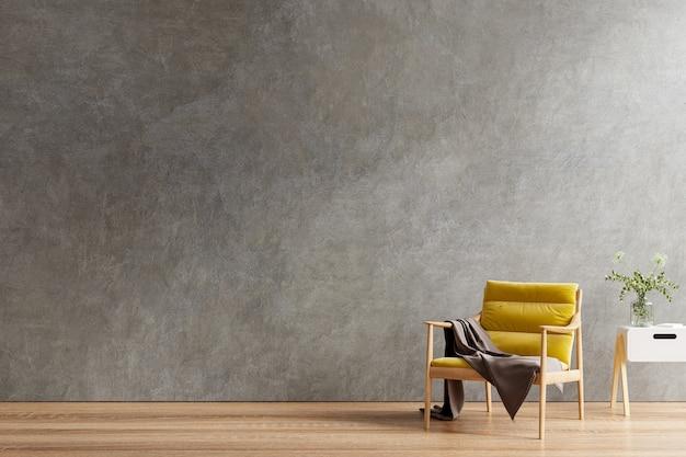 Gele fauteuil en een houten tafel in het interieur van de woonkamer met plant, betonnen muur. 3d-rendering
