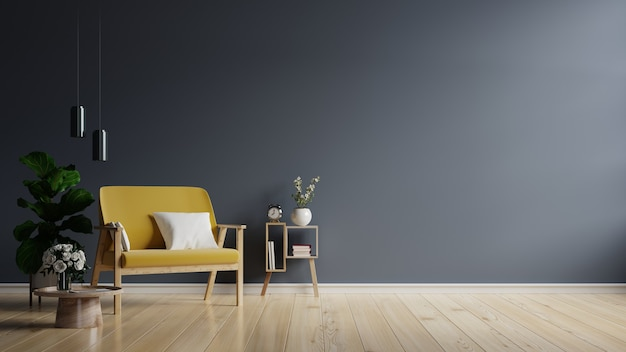 Gele fauteuil op lege donkere muur achtergrond, 3d-rendering