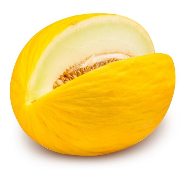 Gele geïsoleerde het eten meloen