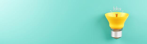Gele gloeilamp met plat leggen van bovenaf 3d-rendering bannergrootte