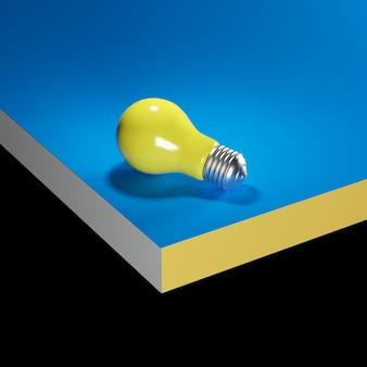 Gele gloeilamp op blauwe mock up. minimale idee concept. 3d render.
