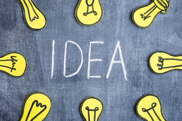 Gele gloeilampen rond de ideetekst die op bord wordt geschreven