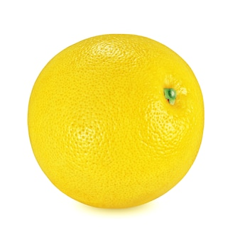 Gele grapefruit solated op witte achtergrond. volledige scherptediepte (alle details in focus). uitknippad inbegrepen.