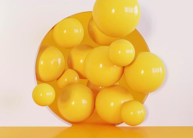 Gele grappige ballen geometrische vormen achtergrond