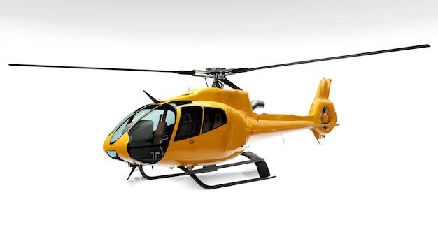 Gele helikopter die op het wit wordt geïsoleerd