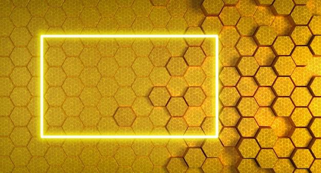 Gele honingraatstructuur met neon frame