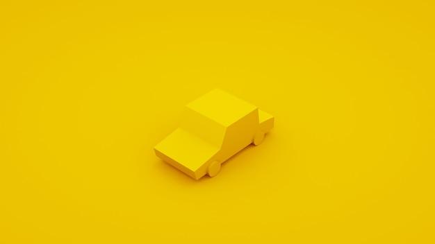 Gele, isometrische auto met laag poly. 3d illustratie.