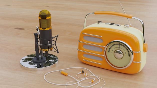 Gele klassieke radio en microfoon op een houten bord