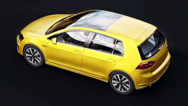 Gele kleine gezinsauto hatchback op zwarte achtergrond. 3d-rendering.