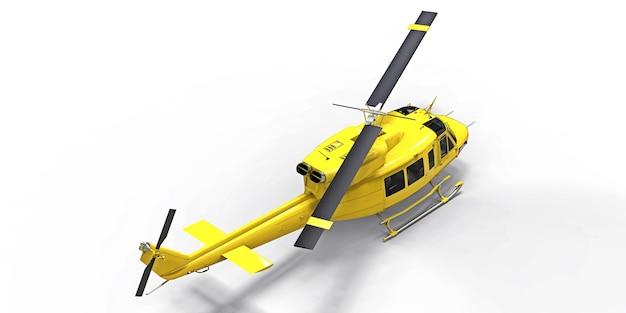 Gele kleine militaire transporthelikopter op witte geïsoleerde achtergrond. de reddingsdienst van de helikopter. luchttaxi. helikopter voor politie, brandweer, ambulance en reddingsdienst. 3d illustratie.