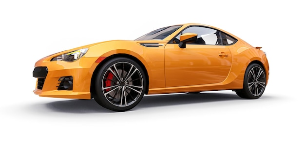 Gele kleine sportwagencoupé. 3d-rendering.