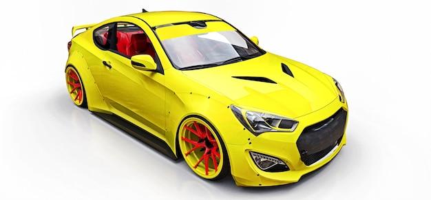 Gele kleine sportwagencoupé. geavanceerde race-tuning met speciale onderdelen en wielverlengingen. 3d-rendering.