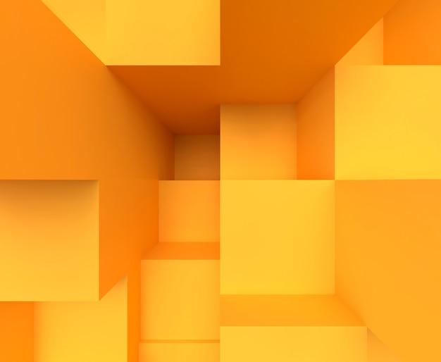 Gele kleur kubus split level scene
