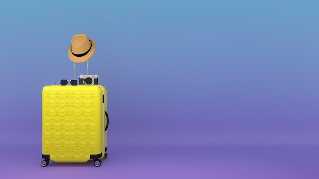 Gele koffer met zonnehoed en bril, camera, reisconcept, 3d illustratie.