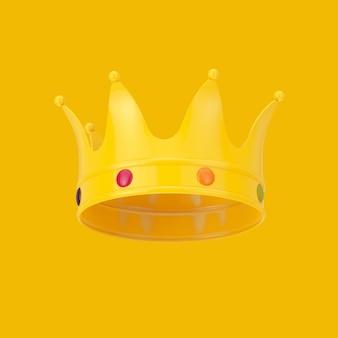 Gele kroon in duotone-stijl op een gele achtergrond. 3d-rendering
