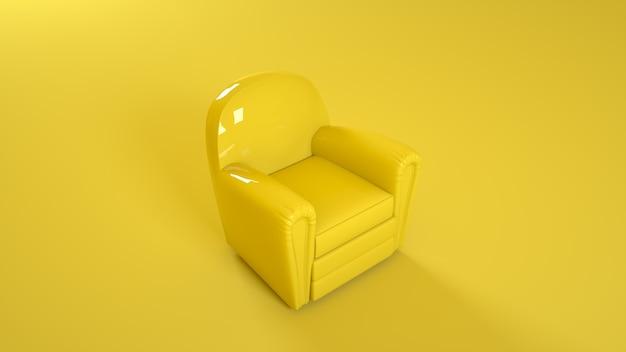 Gele lederen fauteuil geïsoleerd op gele achtergrond. 3d-afbeelding.