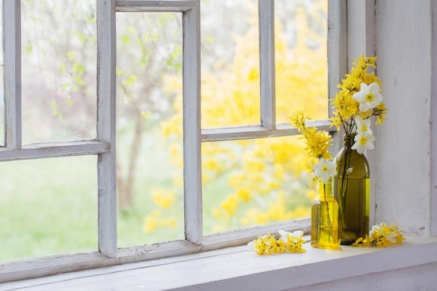 Gele lentebloemen op oud wit venster