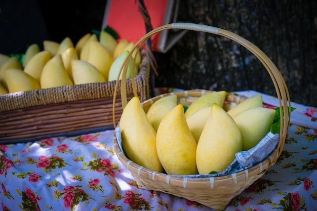 Gele mango in mand het verkopen bij markt in thailand