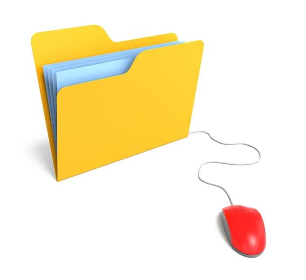 Gele map aangesloten op muis. 3d-rendering