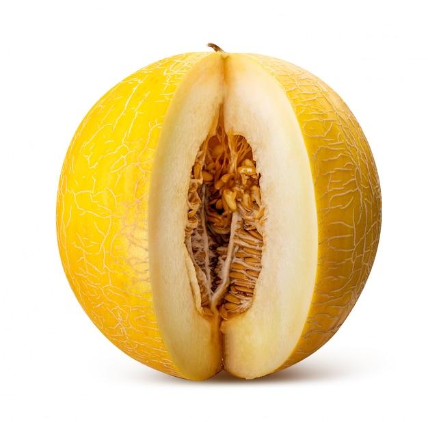 Gele meloen geïsoleerd. uitknippad