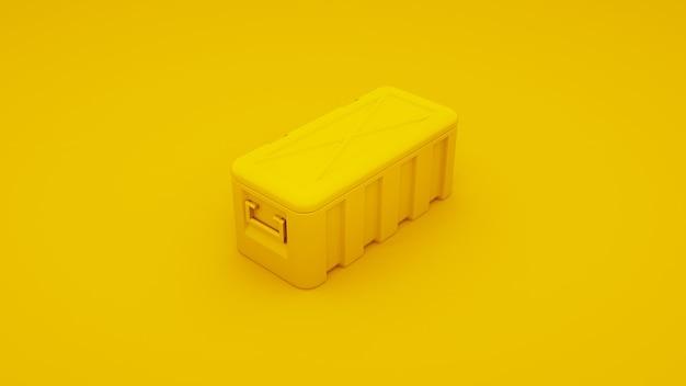 Gele metalen kast. 3d render.