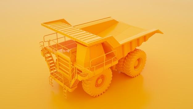 Gele mijnbouwvrachtwagen die op gele 3d illustratie wordt geïsoleerd.