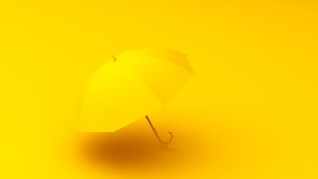 Gele pastelkleurige paraplu op gele achtergrond